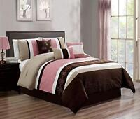 DCP 7Pcs Luxury Embroidery Bed in Bag Microfiber Comforter Set, Cal King Pink