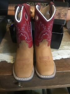 Red and Brown leather boots- Old West- Size: 8.0 Kids Youth boy or girl