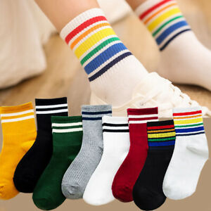 3Pairs Women Cotton Striped Socks Soft Warm Winter Sports Skateboard Hosiery New