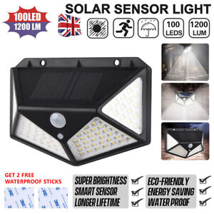 100LED Solar Powered PIR Motion Sensor&Wall Lights Outdoor Garden Security Lamp