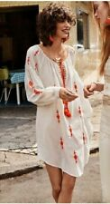 H&M White Orange Embroidered Tunic Long Top Dress Summer Kaftan Loose S SOLD OUT