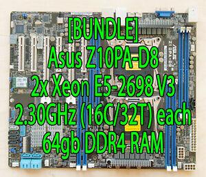 Asus Z10PA-D8 2x dual Intel Xeon E5-2698 V3 SR1XE 2.3GHz (16C/32T) 64GB DDR4 RAM
