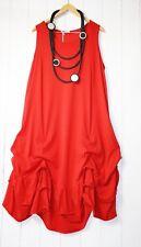 Moonshine ITALY Kleid Gr 46 48 50 Lagenlook Rot Gerafft Neu