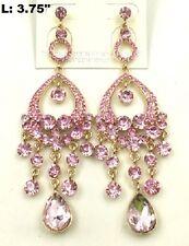 """3.75"""" Long Gold Tone Pink Dangling Rhinestone Chandelier Earrings"""
