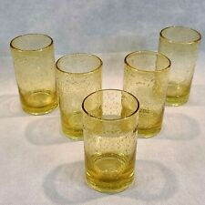 Vintage Hand Blown Bubbled Drinking Glasses Water Iced Tea Amber Gold Color