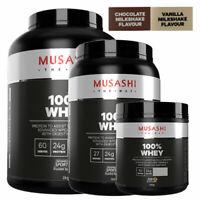 MUSASHI 100% WHEY PROTEIN POWDER 330G 900G 2KG CHOCOLATE VANILLA MILKSHAKE
