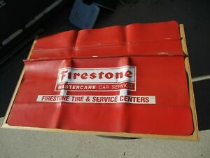 Vintage FIRESTONE Chevy FORD Muscle Car Fender Cover Mat Protector Spark Plug