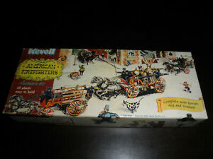 American FIRFIGHTERS Chemical & Ladder Truck w/Firemen,Horses & Dog-Revell 1953