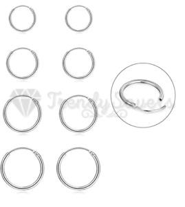 Hypoallergenic Genuine 925 Sterling Silver Sleepers Hoop Earrings Nickel Free
