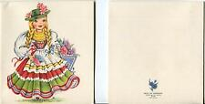 VINTAGE GERMAN GIRL BRAIDS HYACINTH GARDEN PRINT & 1 GIRL DRESS UP MAKE UP CARD