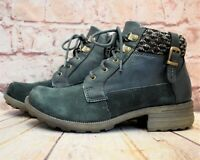 Womens Earth Spirit Green Zip Up Low Heel Ankle Boots Size UK 5 EUR 38