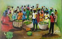 Original 1995 Signed Elisthene Jean Haitian Art Painting Haiti