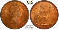 1961 GREAT BRITAIN ONE 1 PENNY BU PCGS MS64RB CIRCLE TONED ONLY 2 GRADED HIGHER