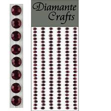 150 x 4mm Burgundy Diamante Self Adhesive Strips Rows Craft Embellishment Gems