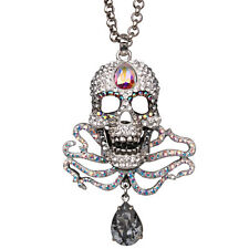 NEW KIRKS FOLLY ALAS POOR YORICK CRYSTAL AB SKULL NECKLACE SILVERTONE
