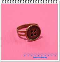 FUNKY VINTAGE BRASS BUTTON RING CUTE KITSCH RETRO BOHO CHIC SEWING GIFT FASHION