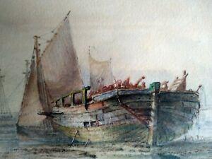 Barlow Moore signed watercolour: Hulk with sailing boats c1880