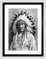 VINTAGE NATIVE AMERICAN INDIAN MOUNTAIN CHIEF BLACK FRAMED ART PRINT B12X11799
