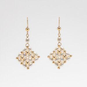 "Handmade!Delicate Multiple White Pearl Hook Earrings 14K Yellow Gold Filled,1.5"""