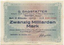 Germany 20 Billions Mark 1923 Senden No0018227