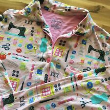 Nick & Nora Pajama Top Pink Sewing Notions Theme Modal Spandex Size Small
