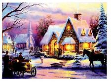 Snowy House Christmas Scene Canvas LED Illuminated Christmas Xmas Decoration