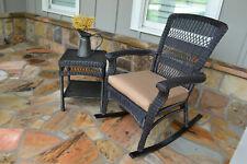 Handwoven Dark Brown Wicker Rocking Chair with Tan Cushion