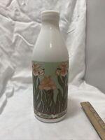 Vintage White Juice Glass Jug Bottle Farmhouse Country Decor