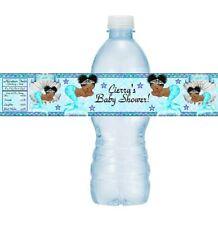 12 Vintage Ethnic Mermaid Princess Baby Shower Water Bottle Stickers Blue Silver