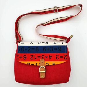 "Handmade Colorblock Red Crazy Striped Math Canvas Crossbody Bag 9'' x 7'' x 2"""