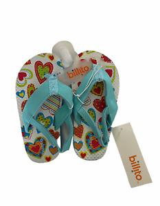 Billito Toddler Girls Teal blue with Hearts Flip Flops Size 8/9