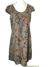 Luca Vanucci Tau Linen Dress Size UK 12-14 Large Birds Tie Belt Cap Sleeve -R179
