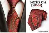 Red Paisley Tie Black and Yellow Patterned Handmade 100% Silk Wedding Necktie