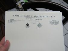 AUTHENTIC VINTAGE MARTIN BAKER AIRCRAFT CO. LETTERHEAD RARE EJECTION SEAT