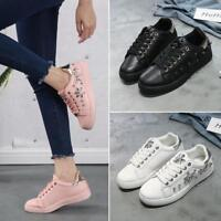 New Women Spring Autumn Rhinestone Lace UP Sport Low Top Shoes Casual Sneakers