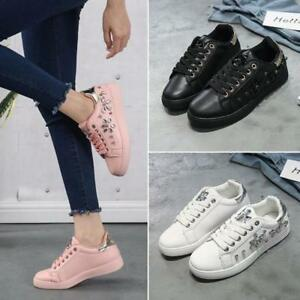 New Women Spring Autumn Casual Rhinestone Lace UP Sport Low Top Shoes Sneakers