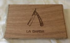 Wood Cigar Box Stash LA BARBA Razor EMPTY Hinged lid Storage  Crafts