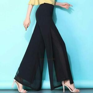 New Ladies Flared Wide Leg Pants High Waist Loose Culottes Long Trousers Pants