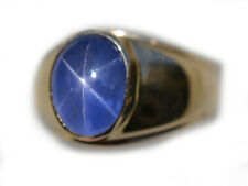 9.30 Carat Mens AGL Certified Blue Star Sapphire Ring in 14K Yellow Gold