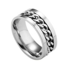 NEW MENS 316L STAINLESS STEEL SPIN CHAIN RING BAND CHOOSE SIZE UK STOCK