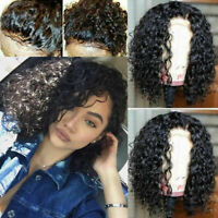 14'' human Hair Peruvian Curly Wigs Lace Front Closure Side part with Baby Hair