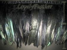 Coque feather fringe of black irridescent colour 20 yards trim-