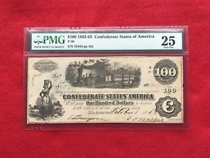 "T-40 1862-63 $100 Dollar CSA Confederate ""Train"" Note *PMG 25 Very Fine*"