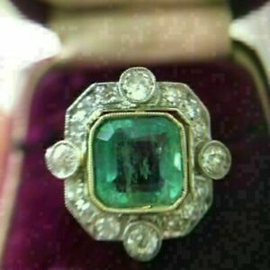 3.50Ct Asscher Cut & Green Emerald Solitaire Halo Ring With 14k White Gold Over