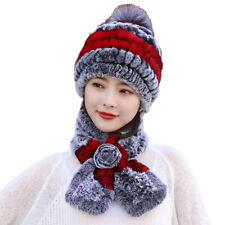 Real Rex Rabbit Fur Hats Scarf Sets Women Winter Warm Beanie Cap Fox Fur Pompom