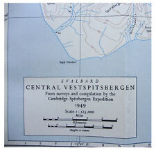 1952 Harland - ARCTIC SPITSBERGEN EXPEDITION - Very Large Colour Map - 09
