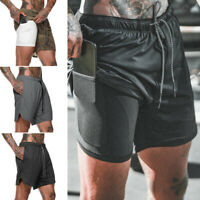 Mens 2in 1 Sports Gym Running Shorts Breathable Fitness Bottoms With Pockets
