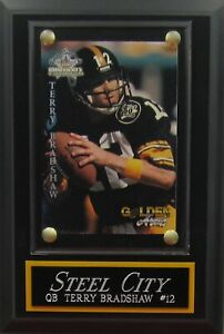 TERRY BRADSHAW PITTSBURGH STEELERS CARD PLAQUE FOR YOUR MAN CAVE WALL DECOR
