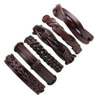 6pcs Set Brown Leather Punk Tribal Cuff Wristband Bangle Bracelet Men + Free Bag