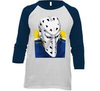 St. Louis Blues Mike Liut 3/4 Sleeve Tee Shirt with Hockey Goalie Mask T-shirt